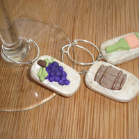 MADE TO ORDER Wine Charms, Set of Three, Grapes, Barrel and Wine Bottle, Customizable