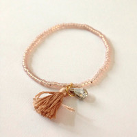 Dainty Beaded Charm Tassel Bracelet Bead Stretch Elastic Rhinestone Bling Friendship Thin Stackable Arm Candy Tan Rose Spring Summer