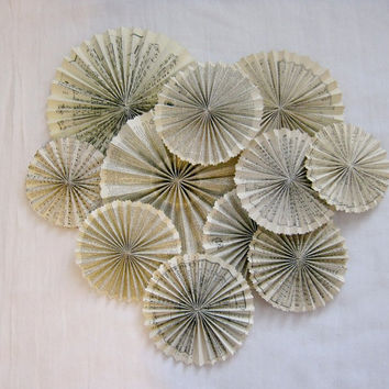 Mixed Sizes Antique Paper Rosettes - Aged Paper - Wedding Decor - Rustic Wedding - Sheet Music - Aged Paper Rosettes -Dictionary Paper