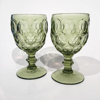 Imperial Provincial Green Goblets, Pair of Green Glass Goblets, Green Wine Glasses, Thumbprint Pattern