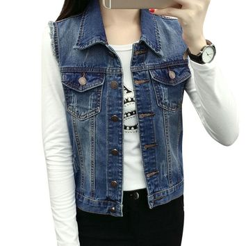 Trendy Vintage Womens Denim Vest Casual Slim Fit Sleeveless Jackets Hole Jeans Brand Waistcoat Woman Clothing Spring Cardigan Tops AT_94_13