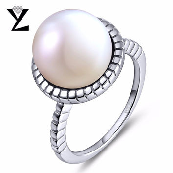 YL 100% 925 Sterling Silver Ring for Women Fine Jewelry with Freshwater Pearls for Wedding Engagement Women Ring Luxury