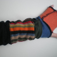 ALMOST 100 percent CASHMERE fingerless gloves armwarmers 18 inch Multi