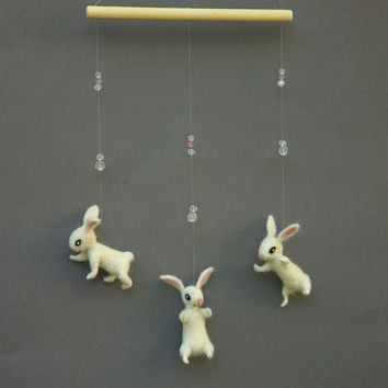 Felted  bunny Mobile Felted animal mobile White nursery mobile Baby Crib Mobile  White Felted Bunny Kids room decor White rabbit mobile