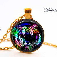 Tiger Necklace, Tiger Pendant tiger jewelry Pendant Art gift for men for women black multicolor, Fractal Art,Fractal,Neon Glow