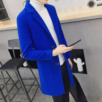 XMY3DWX fashion male high-grade slim Fit long Woolen cloth coat/Men's pure color single-breasted tweed trench coat S-XXL jackets
