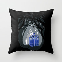 Tardis doctor who lost in the woods Throw Pillow case by Three Second