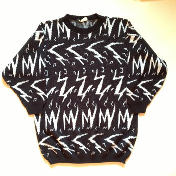 80s Sweater - Abstract Design Sweater - Black and White Glitter Sweater - Lighting Design - Zebra Inspired - Zig Zag Pattern - Print