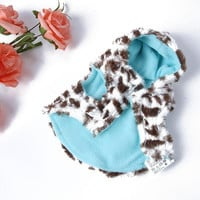 Pet Dog Coral Fleece Leopard Jacket Dress up Faux Fur Coat Puppy Hoodie Clothes Large