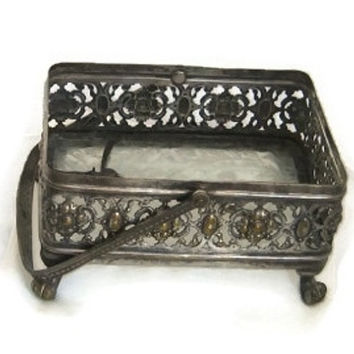 Vintage rectangular footed brass candy dish with handle. Trinket dish. Embossed flowers . Filigree.1950s frosted glass