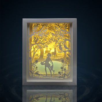 Silhouette Spring forest paper cut Light box Night light Accent Lamp Valentine's Day gift wedding birthday gift idea shadow box nursery room