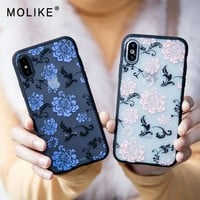MOLIKE Case For iPhone 6 7 8 Plus Luxury Sexy Lace Rose Floral Case For iPhone X 6 S 6S 8  Plus Cover With Rose Pattermed Coque