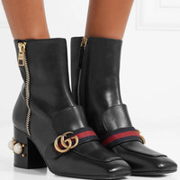 Gucci - Marmont logo and faux pearl-embellished leather ankle boots