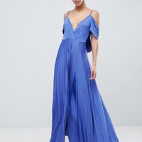 ASOS DESIGN cold shoulder cowl back pleated maxi dress at asos.com