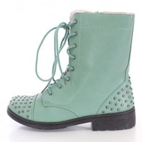 Sage Studded Lace Up Combat Boots Faux Leather