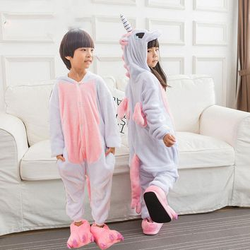 Winter Flannel Keep Warm Pajamas Unisex Unicorn Animal Kigurumi Pajamas for Children Costume Kids Sleepwear baby boy girl