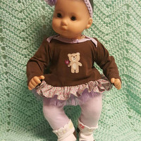 "Baby Doll Clothes ""Little a Brown Bear"" (15 inch) doll outfit Will fit Bitty Baby® Bitty Twins®  dress leggings socks headband flowers G12"