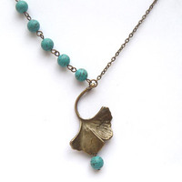 Antiqued Brass Gingkgo Leaf Turquoise Necklace by gemandmetal