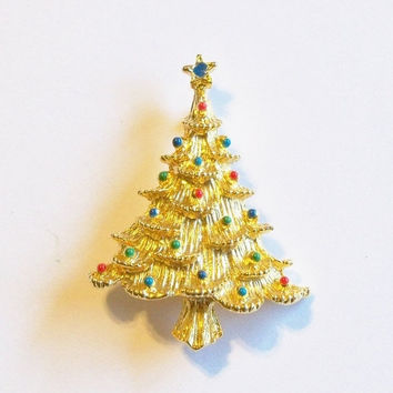 30% OFF Vintage Christmas Tree Brooch Pin signed Eisenberg Ice Gift for Her Birthday Christmas