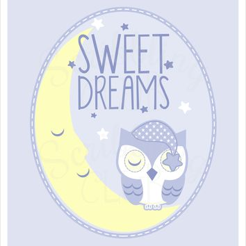 Nursery Wall Art Boy Sweet Dreams Owl
