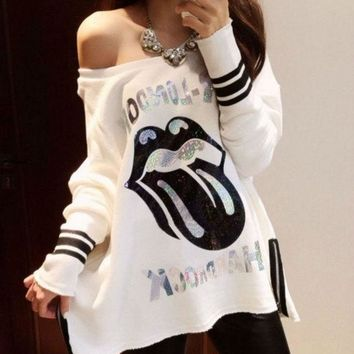 New Spring Women's T Shirts Sexy Slash Neck Off Shoulder Cartoon Printing Loose Long Sleeve Tops T Shirt = 1931889476