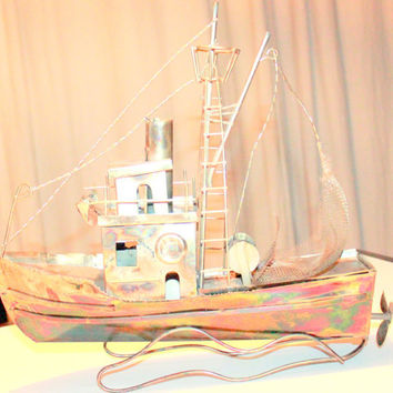 Mid Century Copper Tramp Art Music Sail Boat Vintage Folk Art Moon River