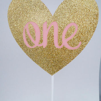Pink and Gold Cake Topper, One Birthday Cake Topper, Glitter Heart Cake Topper, Party Decoration, First Birthday, First Birthday Cake Topper