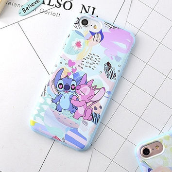 Cute Cartoon Stitch Couple Phone Case For iphone 6 Case For iphone 6 6S Plus 7 7 Plus Soft TPU Phone Back Covers Coque YC2052