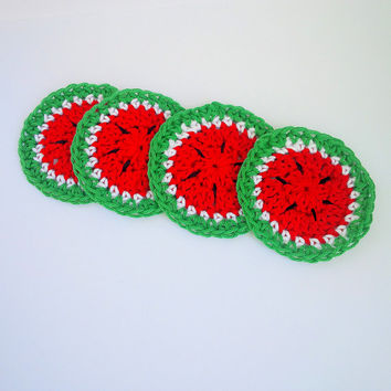 Watermelon Crochet Coasters - Set of 4 Handmade Spring/Summer Fruit Coasters