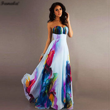Women's Long Strapless Dress Large Hem Elegant Maxi