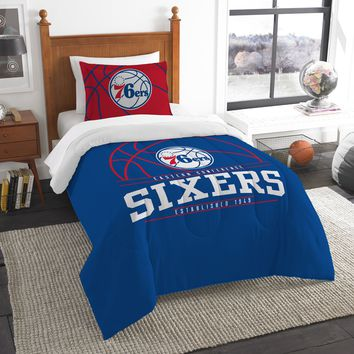 """76ers OFFICIAL National Basketball Association, Bedding, """"Reverse Slam"""" Printed Twin Comforter (64""""x 86"""") & 1 Sham (24""""x 30"""") Set  by The Northwest Company"""