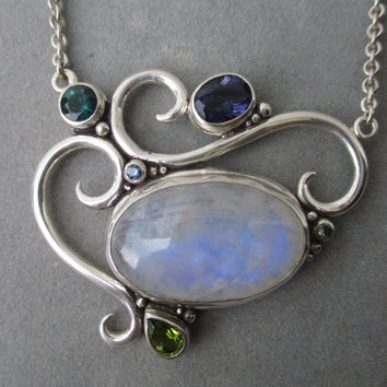One of a Kind Sterling Silver Rainbow Moonstone Pendant