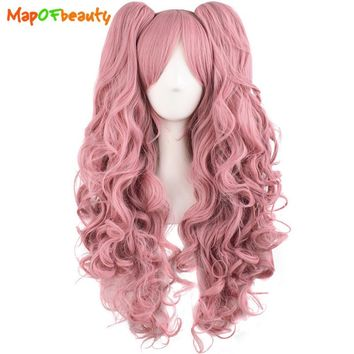 "MapofBeauty 28"" Long Wavy Cosplay Wigs Pink Black Brown Blue White 15 Color 2 Ponytails Shape Claw Heat Resistant Synthetic Hair"