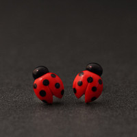 Ladybug Earrings Cute Studs Polymer Clay Earrings by PixieHearts