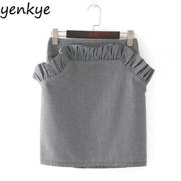 Women Ruffle Skirt Female Back Zipper High Waist Mini Pencil Plaid Skirts