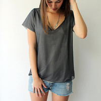 Women Tshirt, Chiffon & Mash top, Layers women shirt, V neck top, Light Grey top , Grey Layered Blouse