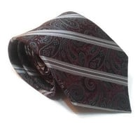 "Pronto Uomo Couture Mens Necktie Silk Paisley Striped Grey Burgundy 58.5"" x 3.5"" Classic Necktie Men's Gift Men Silk Tie Retro Necktie Gift"