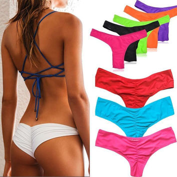 Bikinis Bottom Pure Color Brazilian T-back Semi V Thong Swimwear High Quality Swimsuit Sexy Bathing Suit Bathers