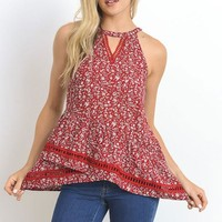 Floral Assymetrical Tank - Red