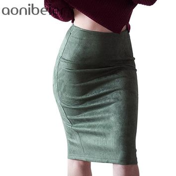 Women Suede Solid Color Pencil Skirt