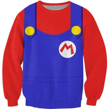 Latest fashion fads Lovers clothes print mario bros red casual Sweatshirts long sleeved loose Sweatshirt casual hoodie G189 = 1931500740