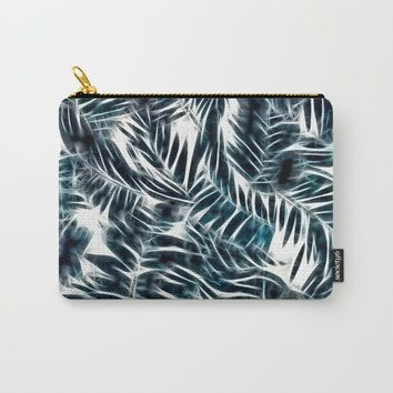 Neon Palm Leafs Pattern, dark green, blue tones tropical nature theme, sunny beach design Carry-All Pouch by hmdesignspl