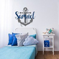 Nautical Name Wall Decal for Nursery - Anchor Name Decal for Boys Room Decor - Sailing Wall Decal - Nautical Wall Decor - Sea Wall Decal