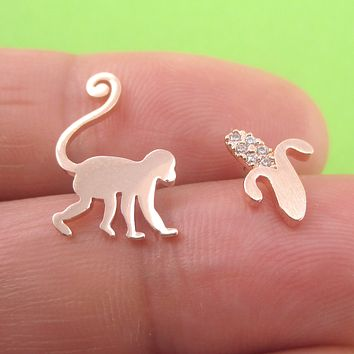 Macaque Monkey and Banana Silhouette Shaped Sterling Silver Stud Earrings