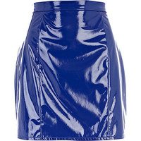 River Island Womens Blue high shine A line skirt
