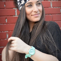 Double Colored Turban Black and White Bandana Jersey Headband - Handmade