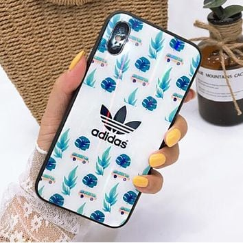 Supreme Champion Nike Adidas Popular Delicate Flower Pattern Aurora Glass Case Mobile Phone Cover Case For iphone 6 6s 6plus 6s-plus 7 7plus iPhone8 iPhone X I12791-1