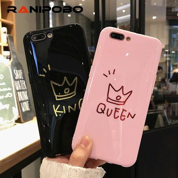 Trendy Fashion Glossy Letter KING QUEEN Design Phone Cases For iphone 6 6s 6s Plus 7 8 Plus X Crown Print Soft TPU Back Cover Cases AT_94_13