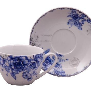 Blue Rose Teacups and Saucers Set of 6 with 6 Tea Cups & 6 Saucers Cheap price; elegant appearance!  $3.95 Shipping or add 1 set for FREE Shipping!