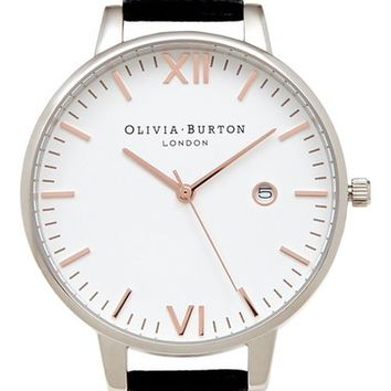 Olivia Burton 'Timeless' Leather Strap Watch, 38mm | Nordstrom